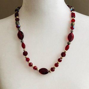 """Vintage Jewelry - Vintage Red Glass + Silver Bead Necklace 21"""""""